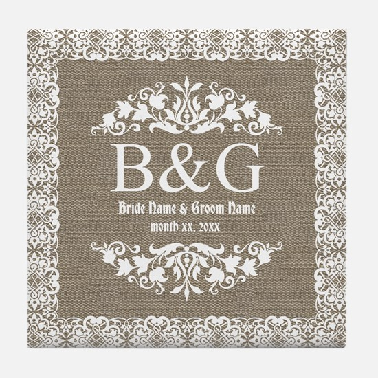 Personalize Bride And Groom Monogrammed Gift Tile