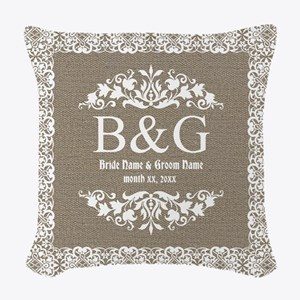 Personalize Bride And Groom Monogrammed Gift Woven