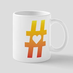Vibrant Hashtag Heart Mugs