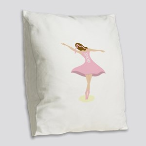 Ballerina Girl Burlap Throw Pillow