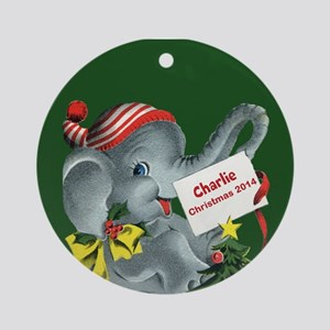 Personalized Elephant Christmas Ornament (round)