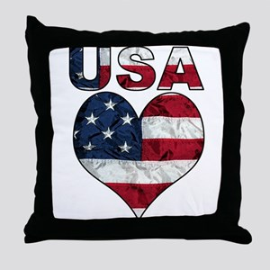 USA Heart-Americana Throw Pillow