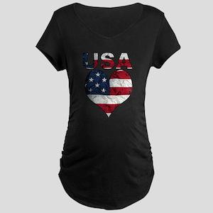 USA Heart-Americana Maternity Dark T-Shirt