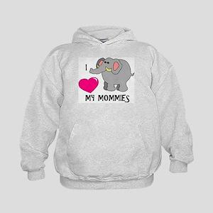I Love My Mommies Elephant Kids Hoodie