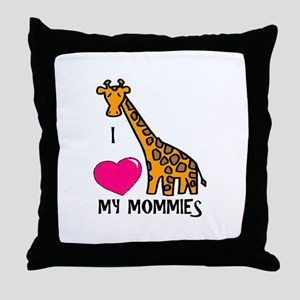 I Love My Mommies Giraffe Throw Pillow