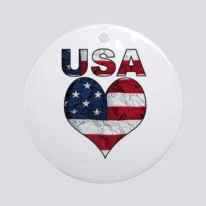 USA Heart-Americana Ornament (Round)