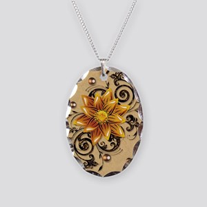 $ Flowers Necklace Oval Charm