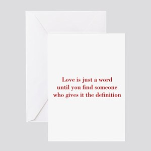 Love-is-just-a-word-BOD-RED Greeting Cards