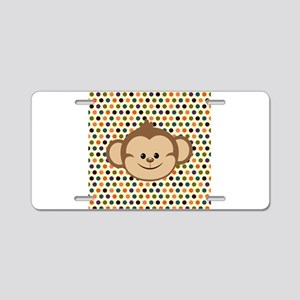 Monkey on Polka Dots Aluminum License Plate