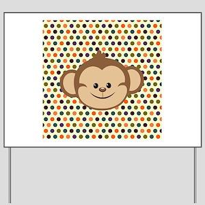 Monkey on Polka Dots Yard Sign