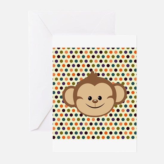Monkey on Polka Dots Greeting Cards