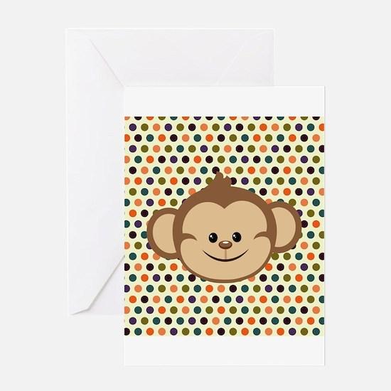 Monkey on Polka Dots Greeting Cards