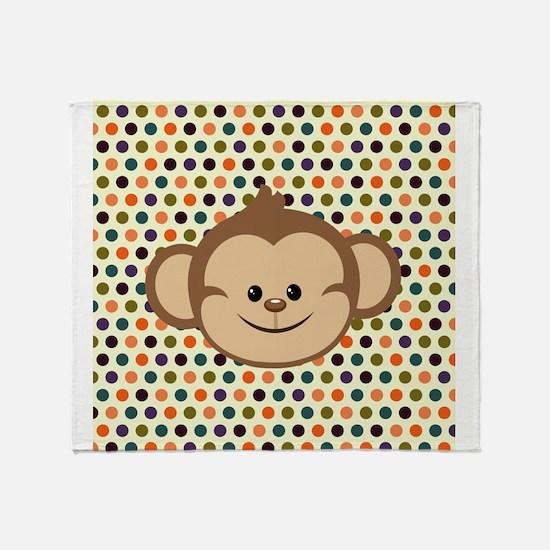 Monkey on Polka Dots Throw Blanket
