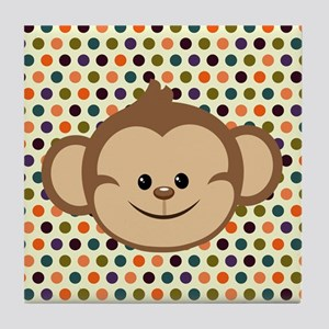 Monkey on Polka Dots Tile Coaster
