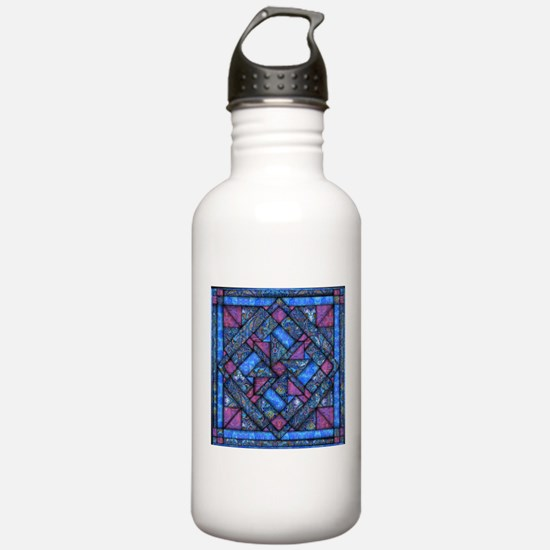 Purple and Blue Quilt Water Bottle