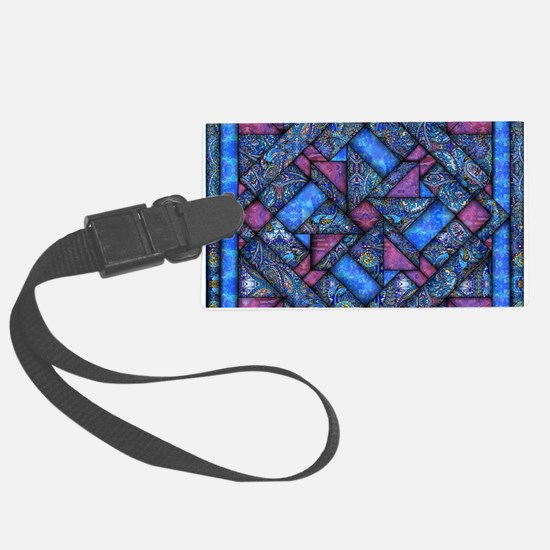 Purple and Blue Quilt Luggage Tag
