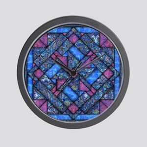 Purple and Blue Quilt Wall Clock