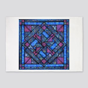 Purple and Blue Quilt 5'x7'Area Rug