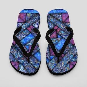 Purple and Blue Quilt Flip Flops