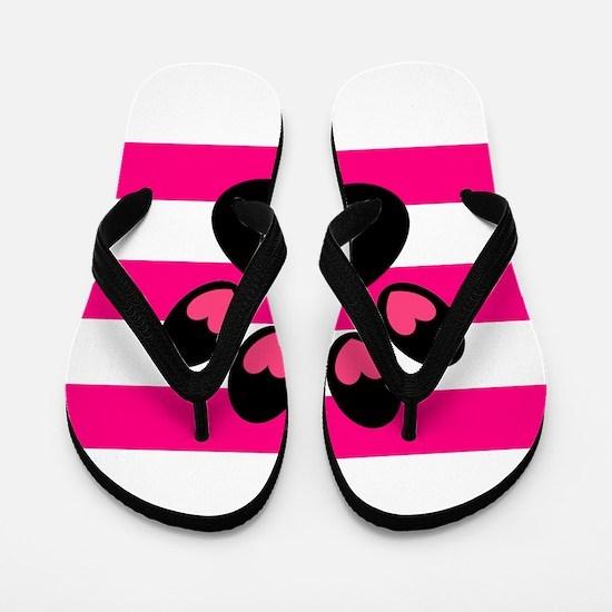 Paw Print on Hot Pink Flip Flops