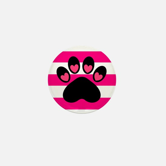 Paw Print on Hot Pink Mini Button