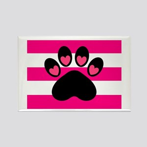 Paw Print on Hot Pink Magnets