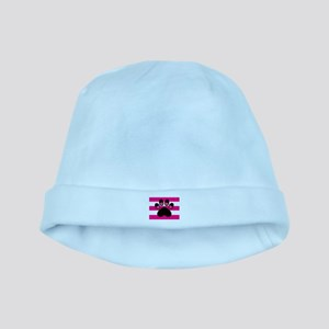 Paw Print on Hot Pink baby hat