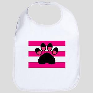 Paw Print on Hot Pink Bib