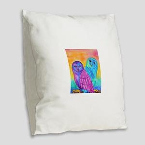 Rainbow Owls by Vanessa Curtis Burlap Throw Pillow