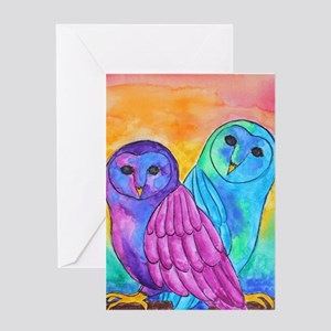 Rainbow Owls by Vanessa Curtis Greeting Cards