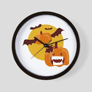 Bat Winged Pumpkin Wall Clock