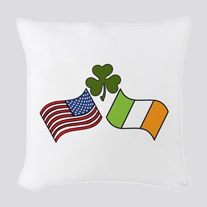 American Irish Flag Woven Throw Pillow