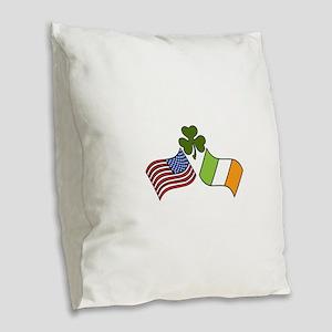 American Irish Flag Burlap Throw Pillow