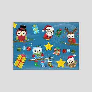 Christmas Owls 5'x7'Area Rug