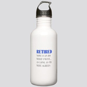 retired-now-I-can-do-bod-blue-gray Water Bottle