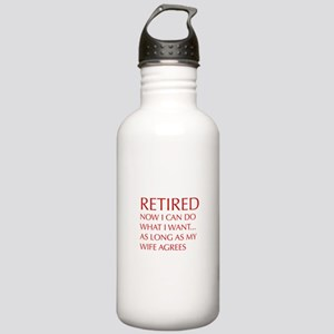 retired-now-I-can-do-opt-red Water Bottle