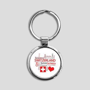 I Love Switzerland Round Keychain