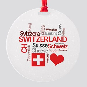 I Love Switzerland Round Ornament