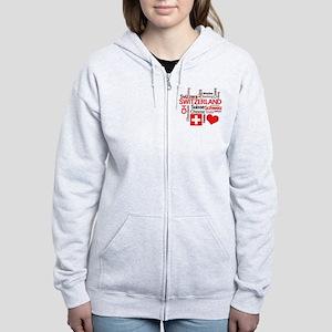 I Love Switzerland Women's Zip Hoodie