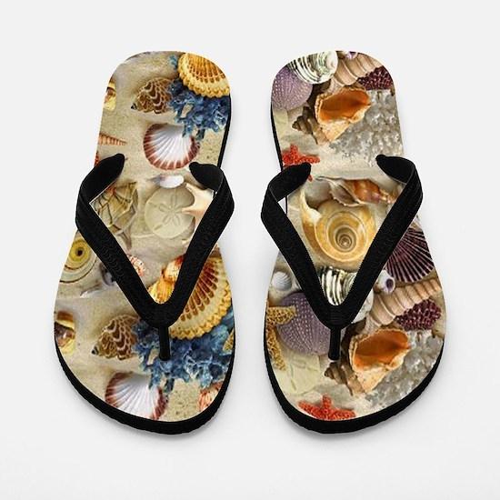 Seashells And Starfish Flip Flops