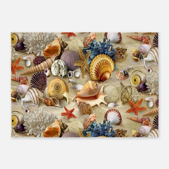 Seashells And Starfish 5'x7'Area Rug