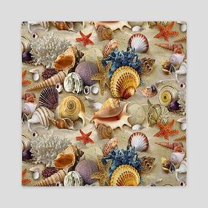 Seashells And Starfish Queen Duvet