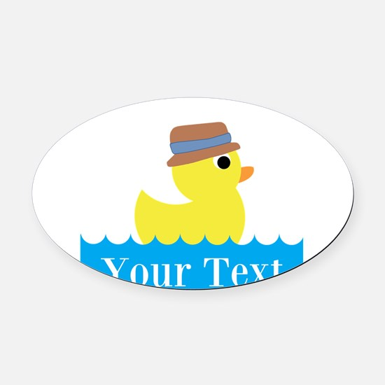 Personalizable Rubber Duck Oval Car Magnet