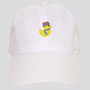 Rubber Duck in Scarf and Hat Baseball Cap