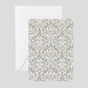 modern vintage grey and white damask Greeting Card