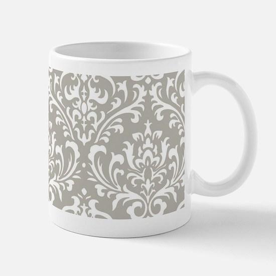 modern vintage grey and white damask Mugs