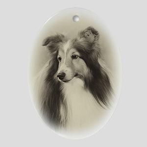 Vintage Sheltie Ornament (Oval)