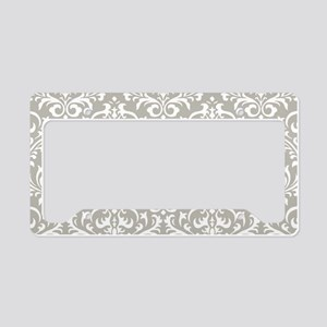 modern vintage grey and white damask License Plate