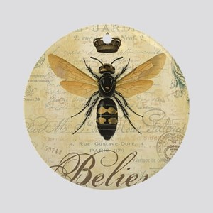 modern vintage French queen bee Ornament (Round)