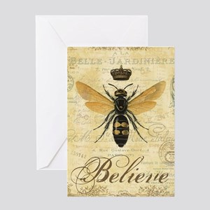 Queen bee greeting cards cafepress modern vintage french queen bee greeting cards m4hsunfo